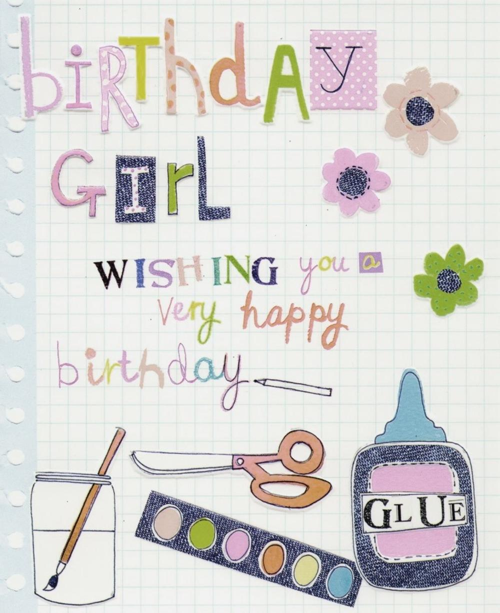 Birthday Girl Paper Salad Birthday Card