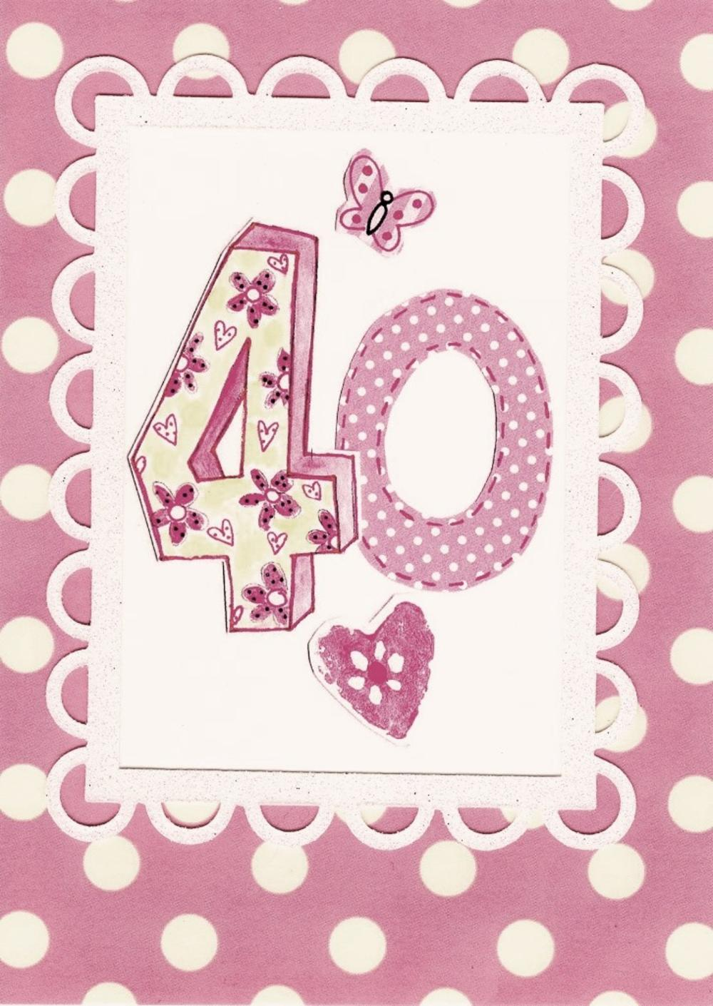 Lovely 40th Paper Salad Birthday Card