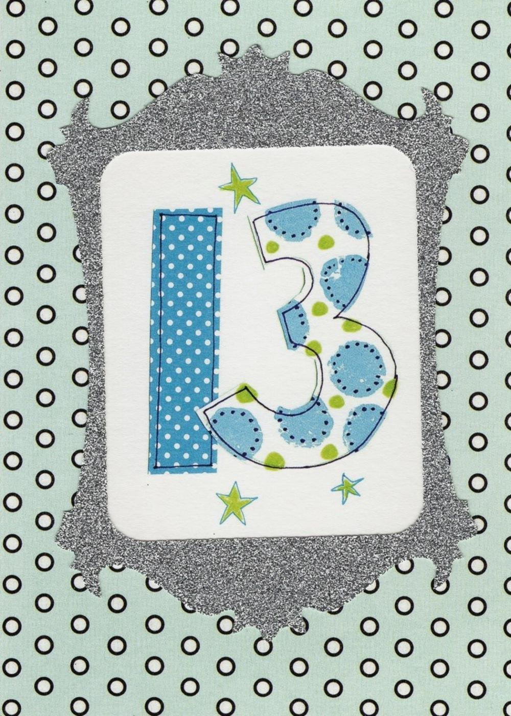 Lovely 13th Paper Salad Birthday Card