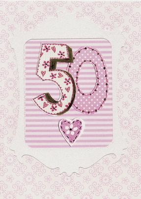 Lovely 50th Paper Salad Birthday Card