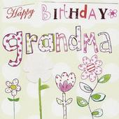 Happy Birthday Grandma Paper Salad Greeting Card
