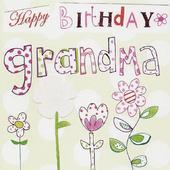 Happy Birthday Grandma Paper Salad Greeting Card