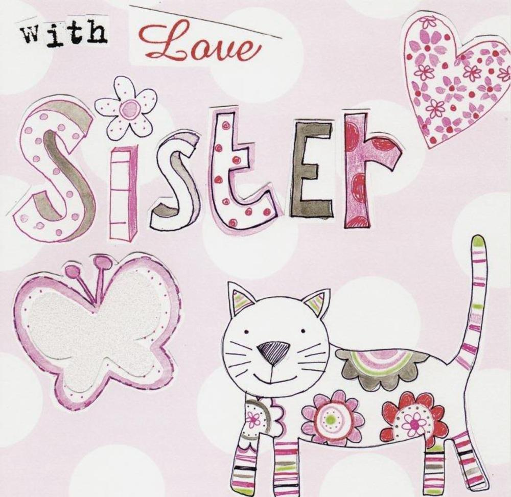 With Love Sister Happy Birthday Paper Salad Greeting Card