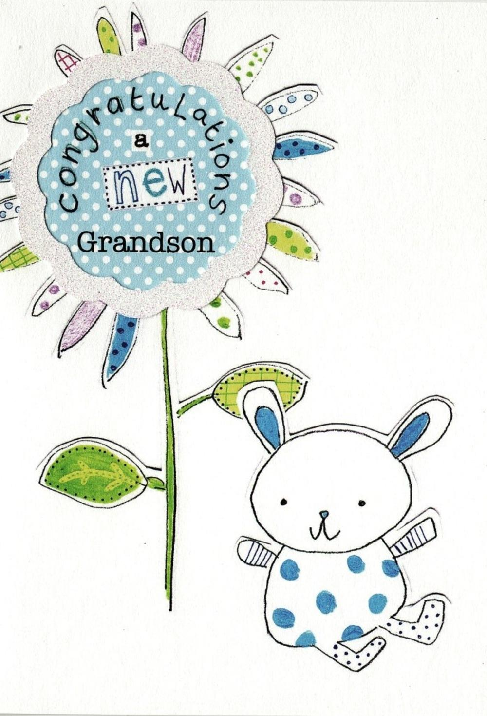 New Grandson Paper Salad Greeting Card