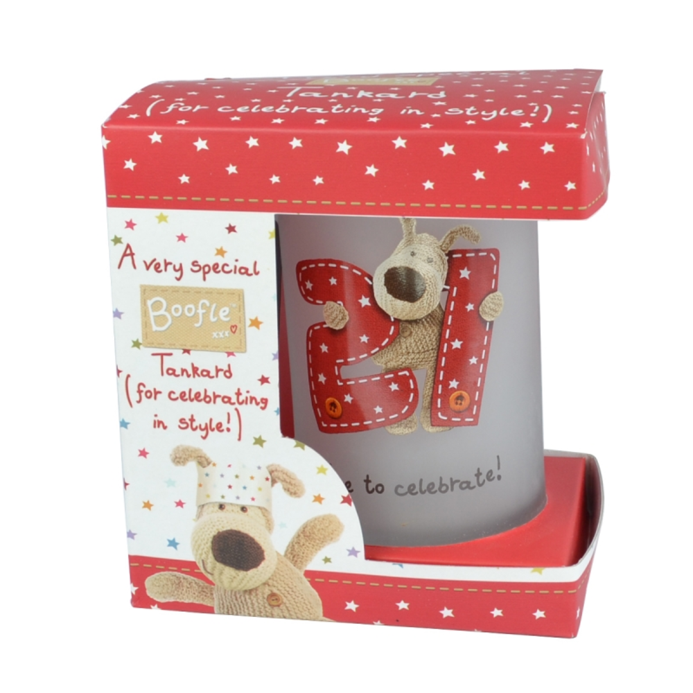 Boofle 21st Birthday Glass Tankard In A Gift Box