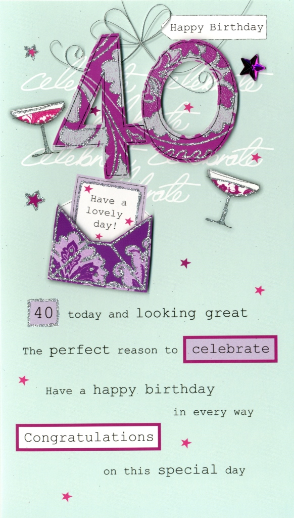 Lovely 40th Birthday Greeting Card Cards Love Kates