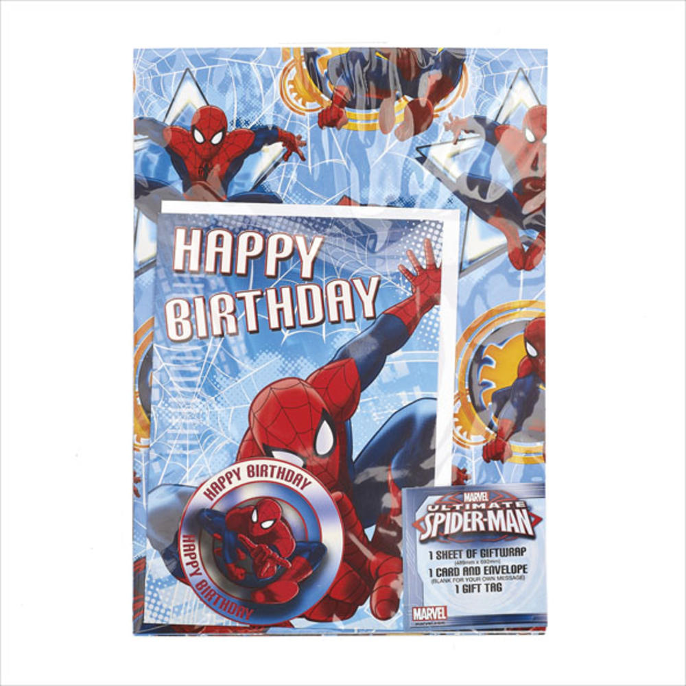 Spiderman Birthday Card & Wrapping Paper Set