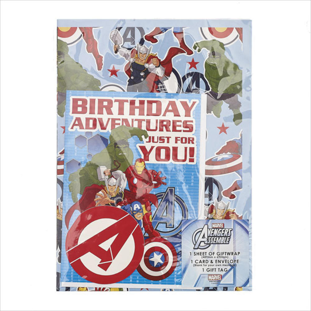 Avengers Birthday Card & Wrapping Paper Set