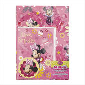 Minnie Birthday Card & Wrapping Paper Set