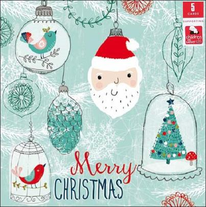 Pack of 5 Santa Bauble Children With Cancer Charity Christmas Cards