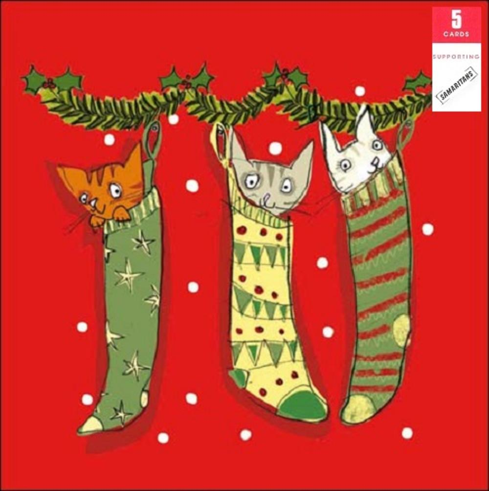 Pack of 5 Festive Cats Samaritans Charity Christmas Cards