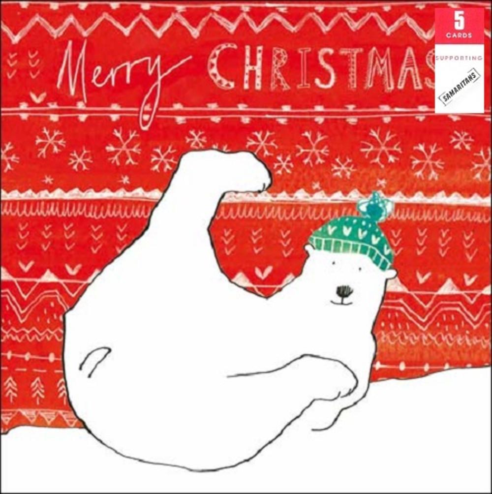 Pack of 5 Polar Bear Samaritans Charity Christmas Cards
