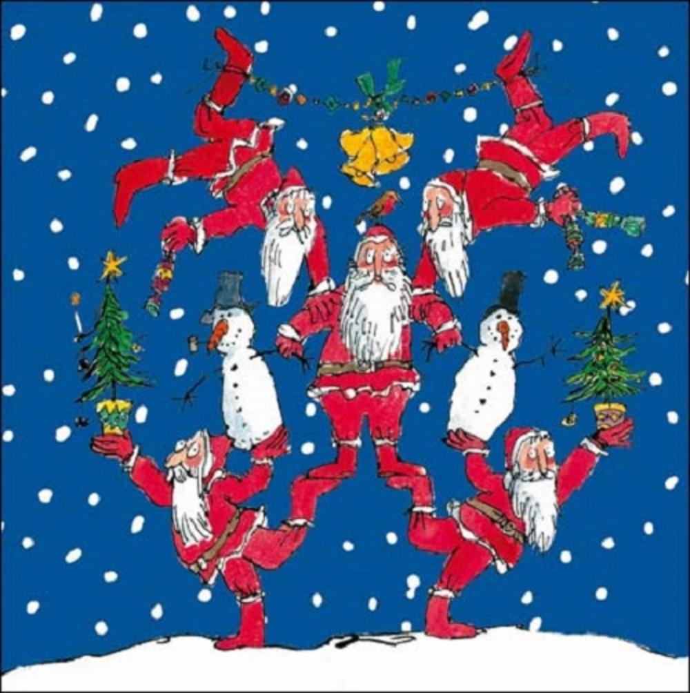 sentinel pack of 5 quentin blake santas wateraid charity christmas cards