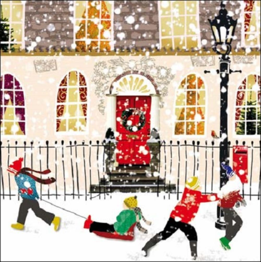 Pack of 5 Children In Snow ChildLine Charity Christmas Cards