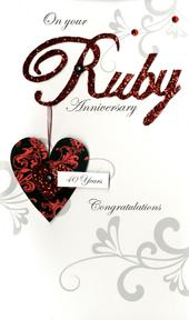 Large Ruby Anniversary 40 Years Greeting Card