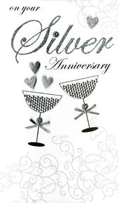 Large Silver 25th Anniversary Greeting Card