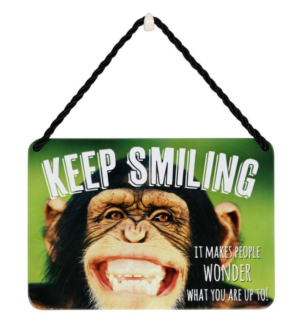 Keep Smiling Monkey Tin Hanging Plaque