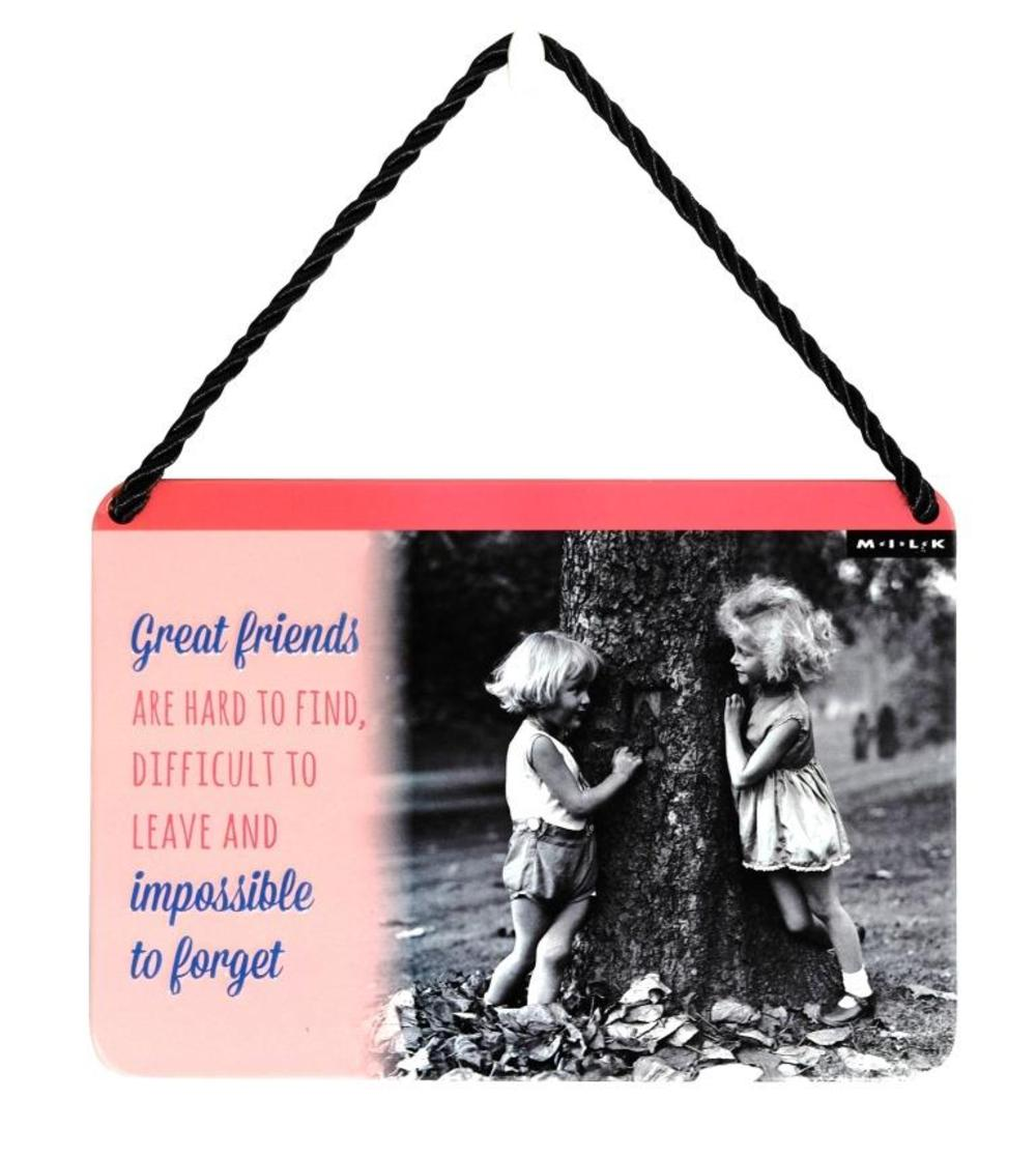Great Friends Are Hard To Find Tin Hanging Plaque