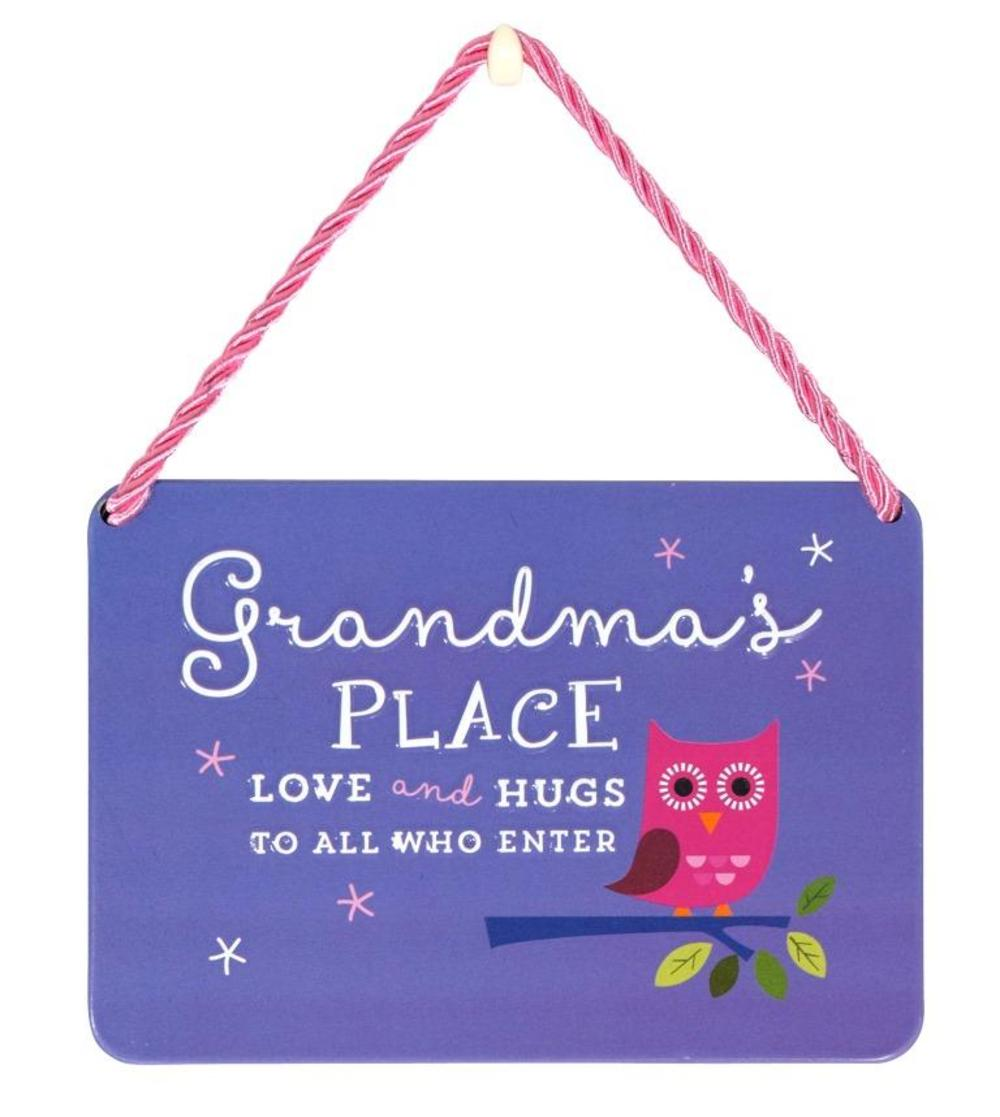 Grandma's Place Love and Hugs Tin Hanging Plaque
