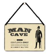 Man Cave Gentlemen Only Tin Hanging Plaque