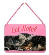 Cute Cat Hotel Tin Hanging Plaque