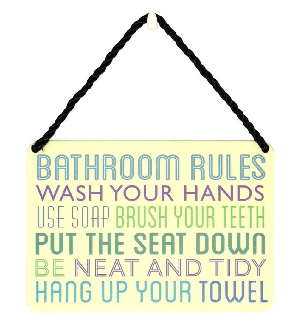 Bathroom Rules Tin Hanging Plaque