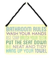 Bathroom Rules Tin Hanging Plaque