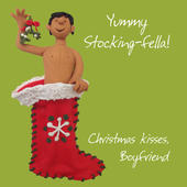 Stocking-Fella Boyfriend Christmas Greeting Card