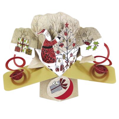 Santa Tree Petite Christmas Pop-Up Greeting Card
