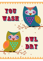 You Wash Owl Dry Tea Towel