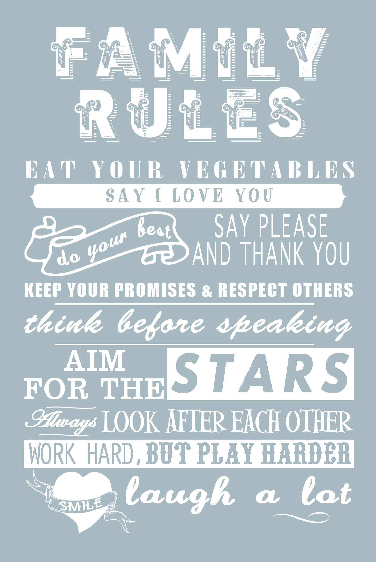 Rules For A Girls Bedroom: Family Rules Tea Towel