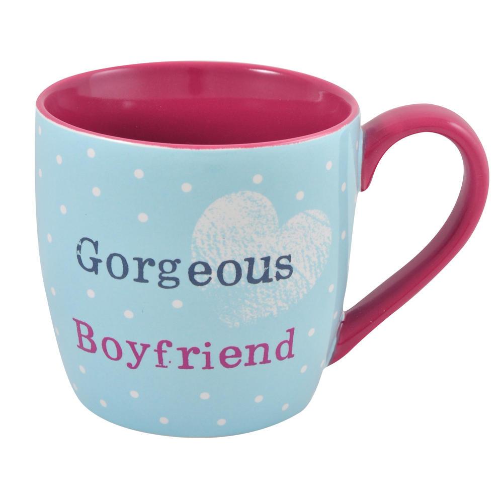 Gorgeous Boyfriend Little Wishes Mug In Spotty Gift Bag