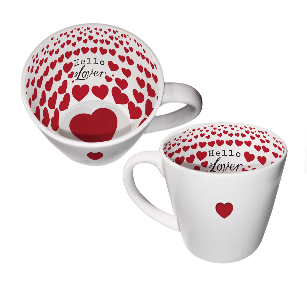 Hello Lover Heart Ceramic Inside Out Mug