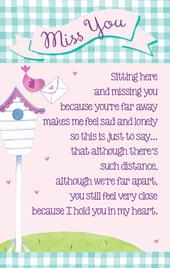I Miss You Heartwarmers Keepsake Credit Card & Envelope