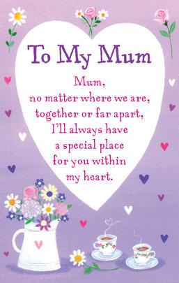 To My Mum Heartwarmers Keepsake Credit Card & Envelope