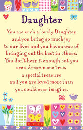 Daughter Heartwarmers Keepsake Credit Card & Envelope