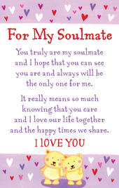 For My Soulmate Heartwarmers Keepsake Credit Card & Envelope