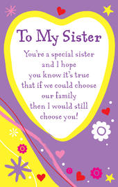 To My Sister Heartwarmers Keepsake Credit Card & Envelope