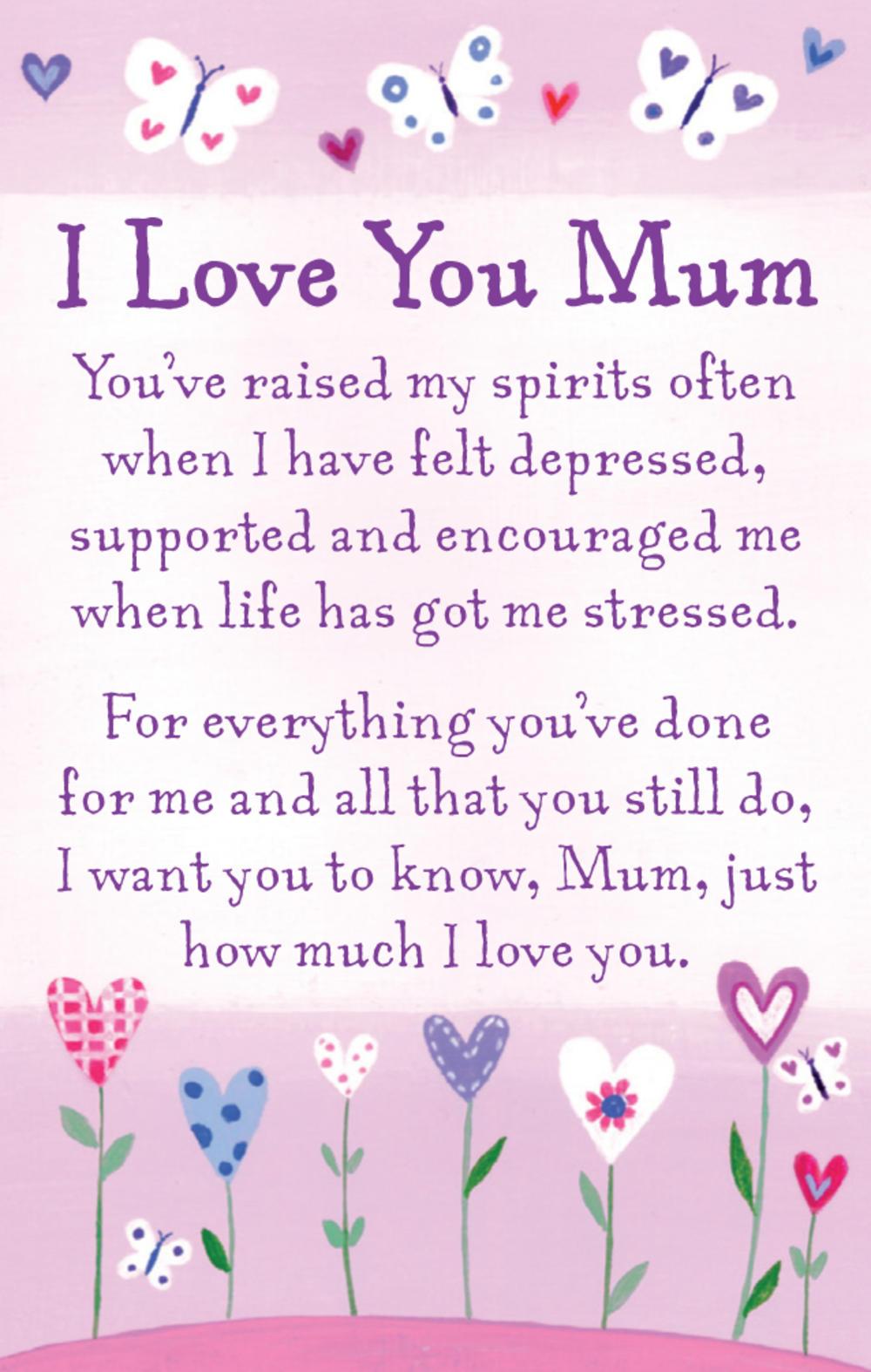 I Love You Mum Heartwarmers Keepsake Credit Card & Envelope