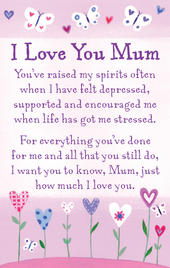 I Love You Mum Heartwarmers Keepsake Credit Card & Envelope