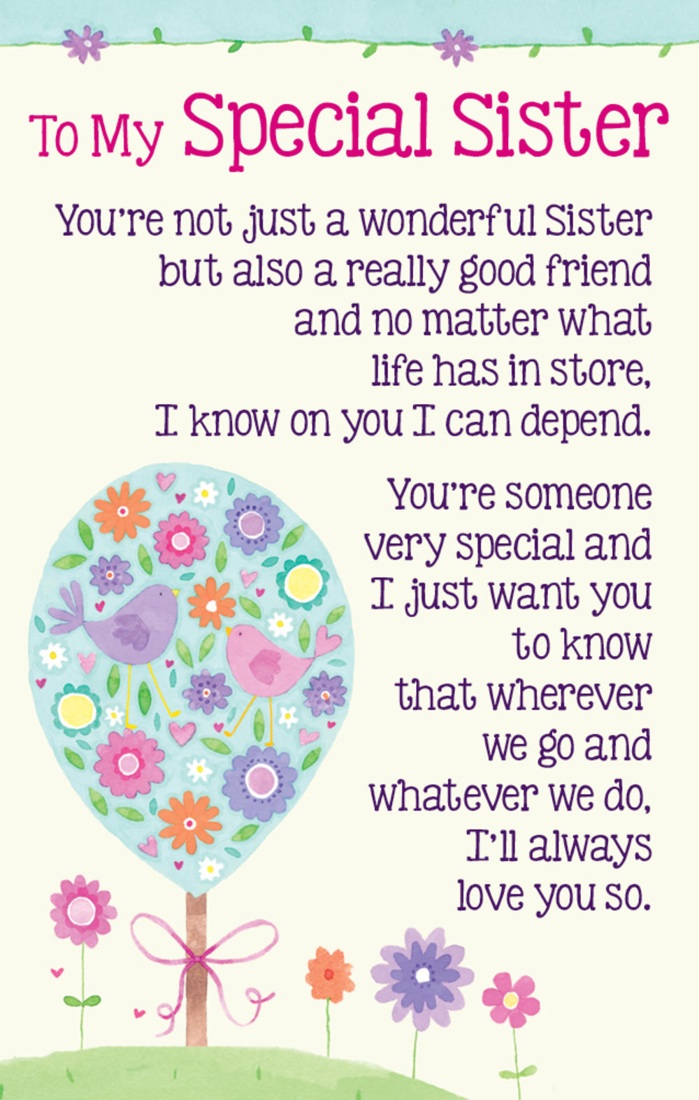 To My Special Sister Heartwarmers Keepsake Credit Card & Envelope ...
