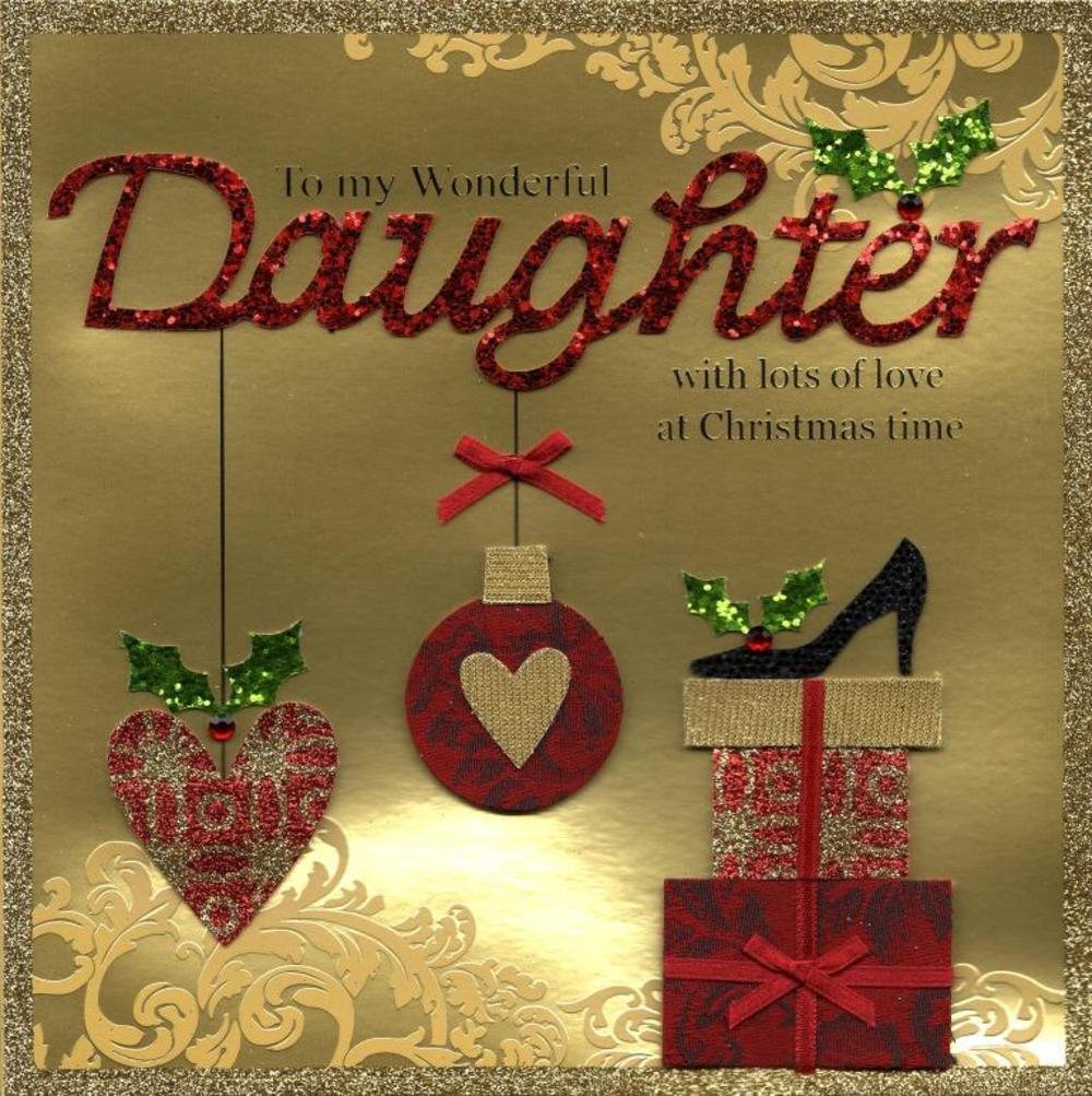 Wonderful Daughter Special Luxury Handmade Christmas Card