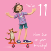 Girls 11th Birthday Greeting Card One Lump or Two Range