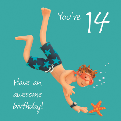 Boys 14th Birthday Greeting Card