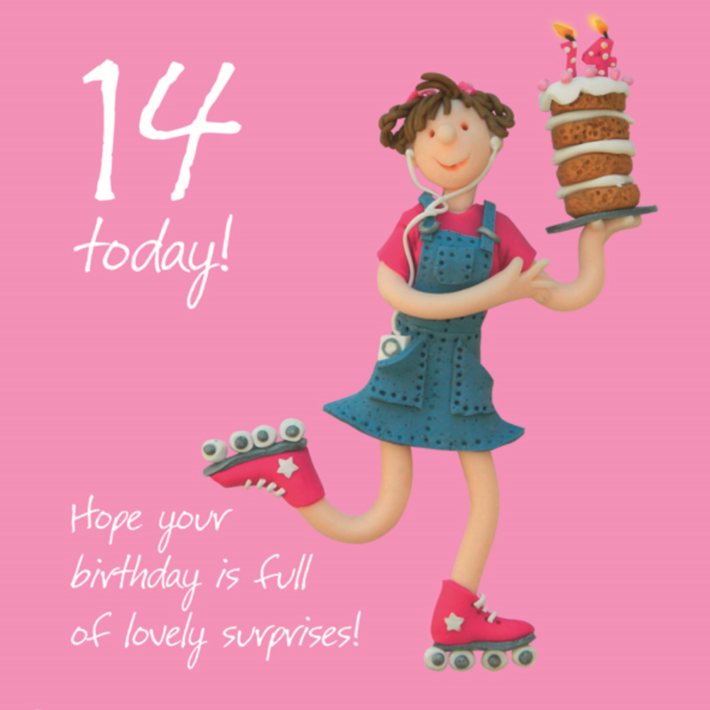 Girls 14th Birthday Greeting Card