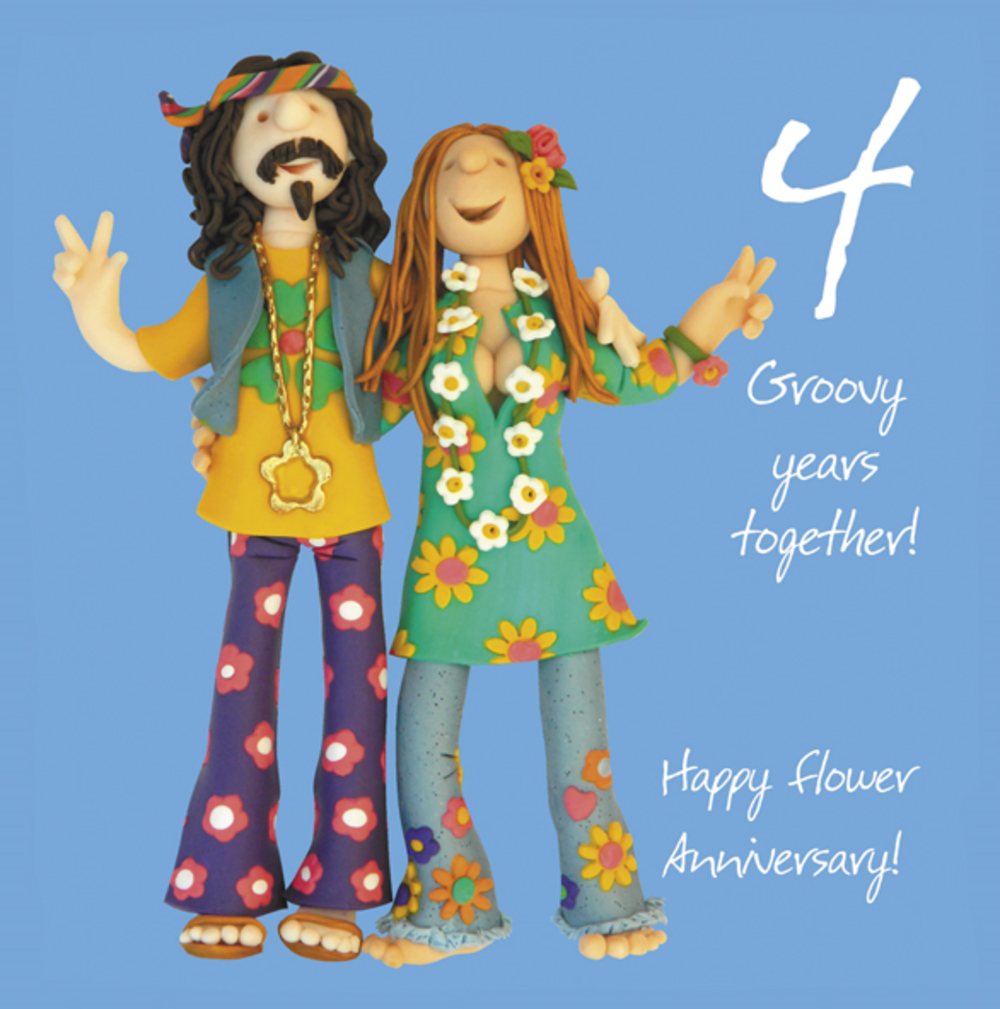 Happy 4th Flower Anniversary Greeting Card
