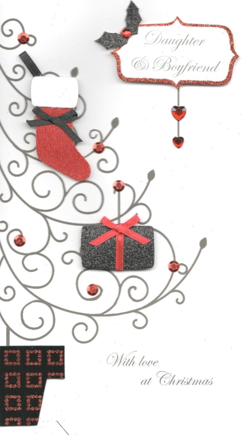Daughter & Boyfriend Special Luxury Handmade Christmas Card