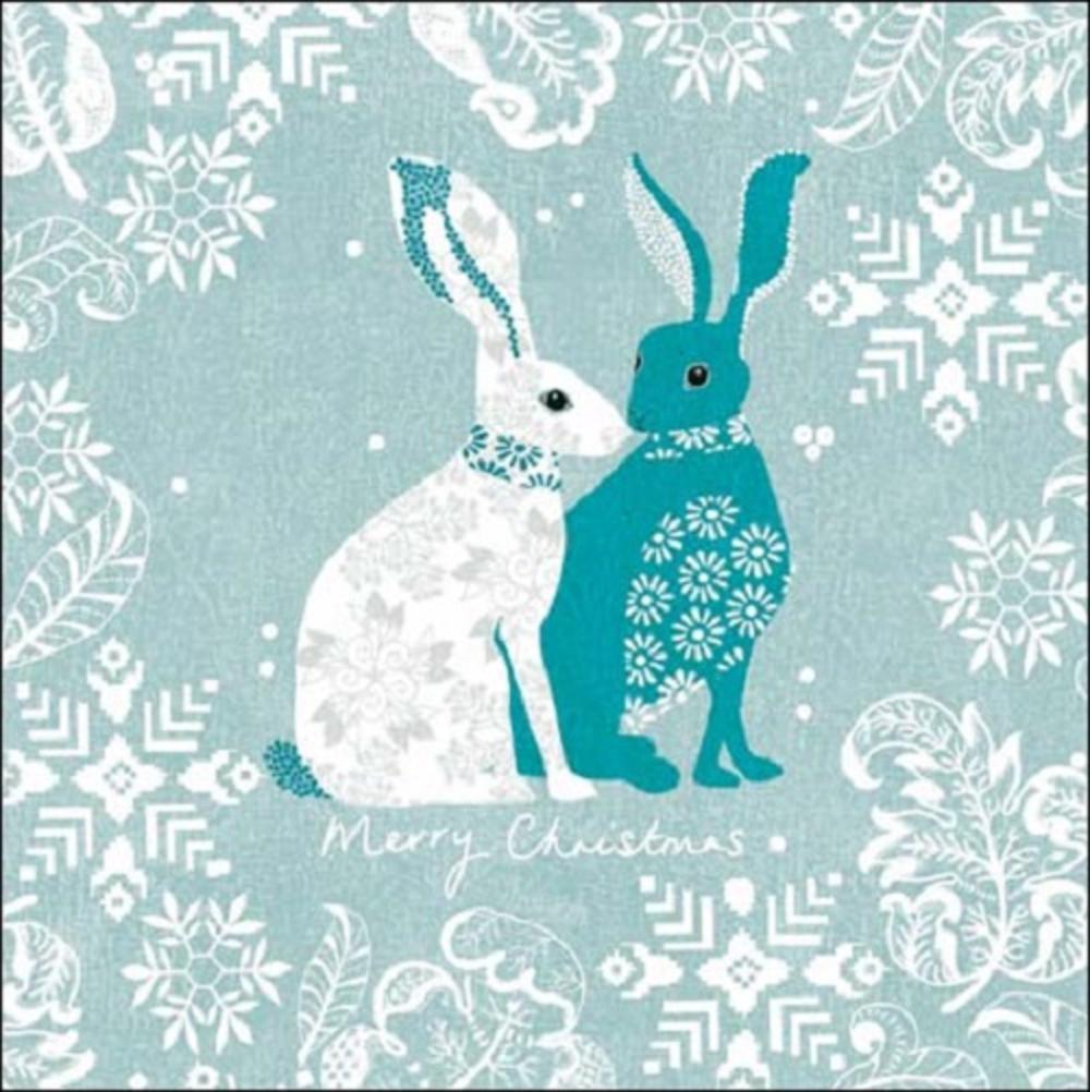 Green Rabbits Christmas National Trust Greeting Card
