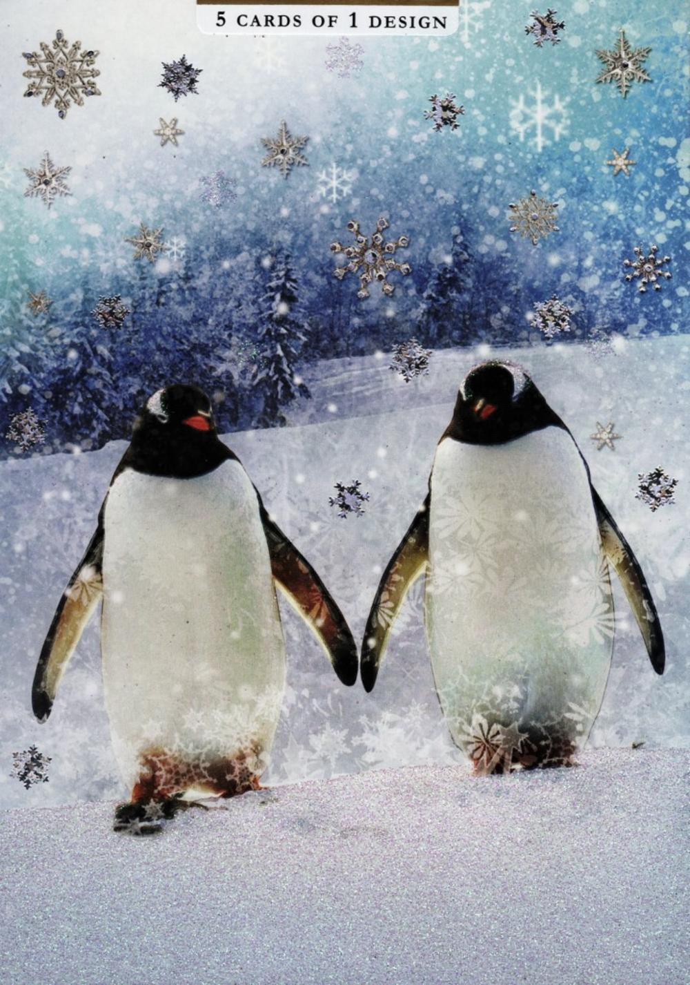 Pack of 5 Penguin Traditional Christmas Cards