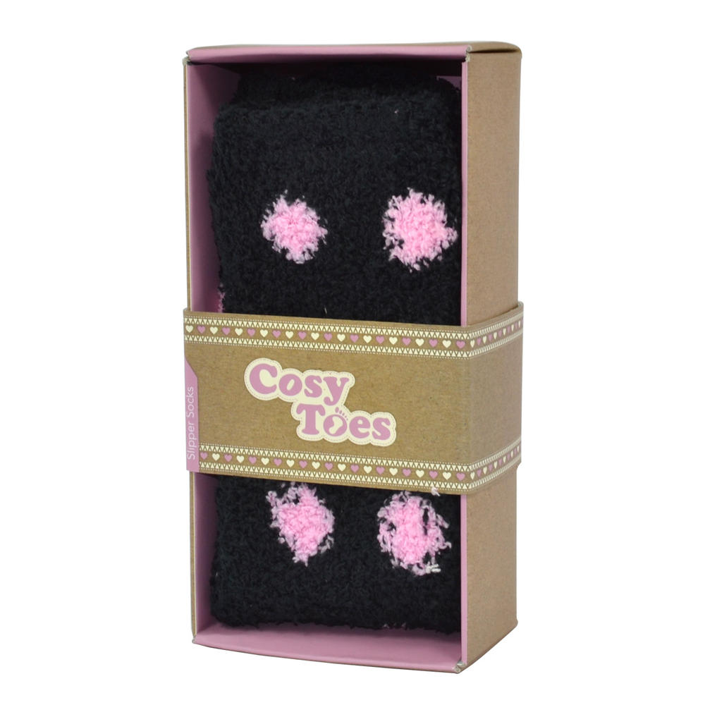 Cosy Toes Black & Pink Spotty Ladies Fluffy Slipper Socks In Gift Box